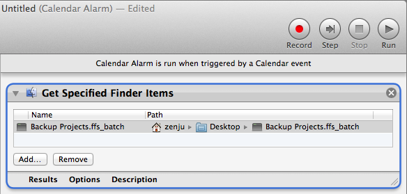 Drop FreeFileSync batch file in Automator