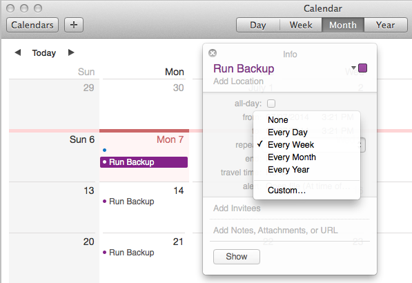 Edit batch job in Calendar