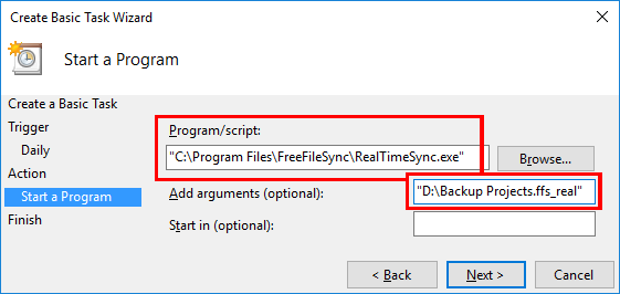 Schedule RealTimeSync