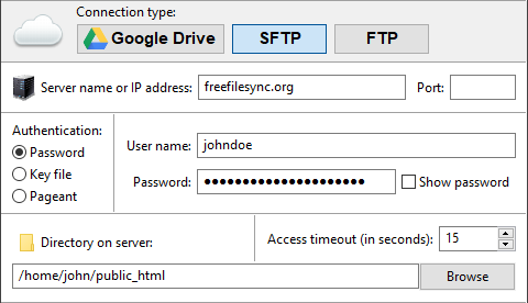 Enter SFTP login data