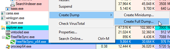 Create dump file with Process Explorer