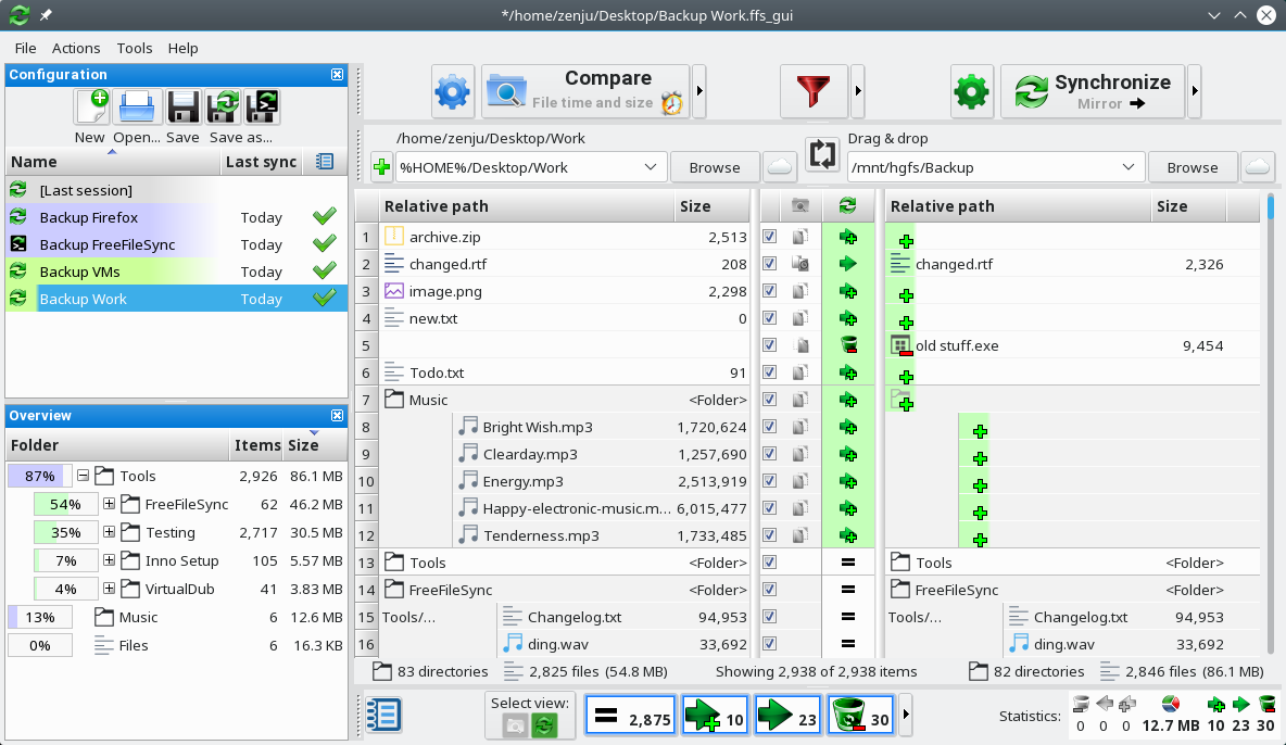 FreeFileSync on openSUSE Linux (KDE)