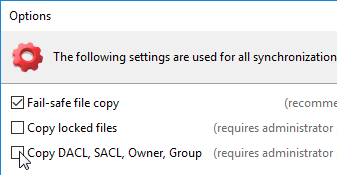 Uncheck copy NTFS permissions